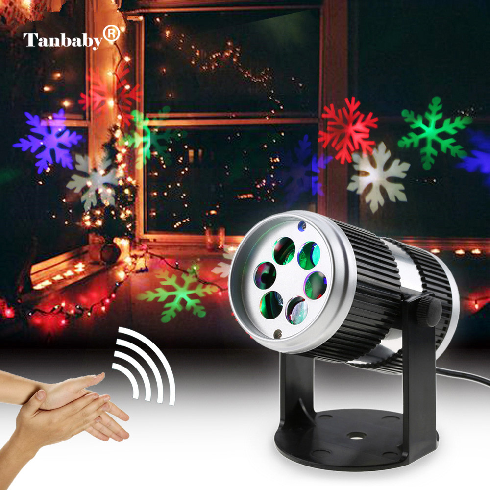 LED Rotating Fairy Snowflake Laser Light Christmas Two colors Snowflake pattern festival lamp for Houses Indoor Party Projector