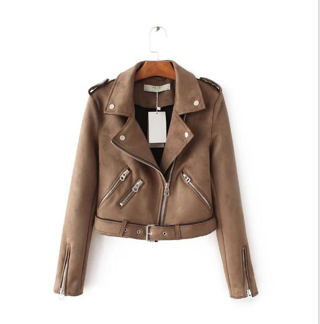 Short Section   Suede   Jackets For Womens Spring Autumn Female Skinny Zipper Faux   Leather   Jackets Lady Motorcycle Biker Coat J2789