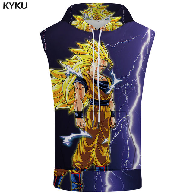 KYKU Dragon Ball Sleeveless Hoodie Goku Coat Lightning Stringer Revenge Shirts 3D Singlets Bodybuilding Mens Clothing 2018