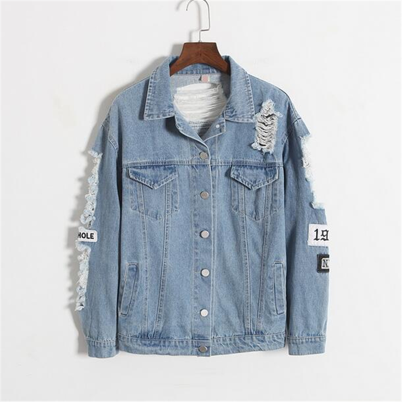 Vintage Fashion Women Denim Jacket Embroidery Letters Loose Back Applique BF Denim Coat Casual Hole Patch Pilot Jacket Outerwear