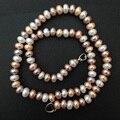 Elegante 100% Maxi Collar de la Mujer Regalos de Navidad Color de La Mezcla de Perlas de Agua Dulce Collar de Perlas de Joyería de La Vendimia Collar de la Declaración