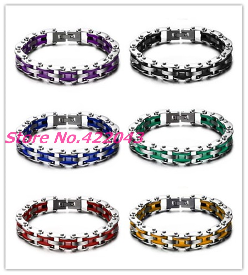 New 10MM Mens Womens Bangle Black Blue Green Red Yellow Purple Silicone & Silver 316L Stainless Steel Fashion Bracelet Xmas Gift