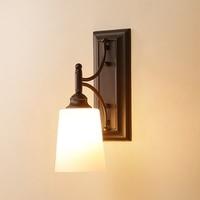 \ American Single Head Wall Sconces E27 Bulb Vintage Simple Metal Wall Light Hallway Balcony Bedroom Bedside Light Wall Lamp 235