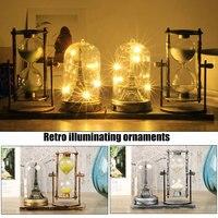 경제적 인 빈티지 모래 유리 led 라이트 타워 테이블 램프 홈 장식 장식품 ds99