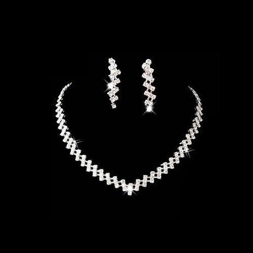 2015 New Wedding Jewelry bright Crystal Rhinestone Necklace Earrings set xl-061