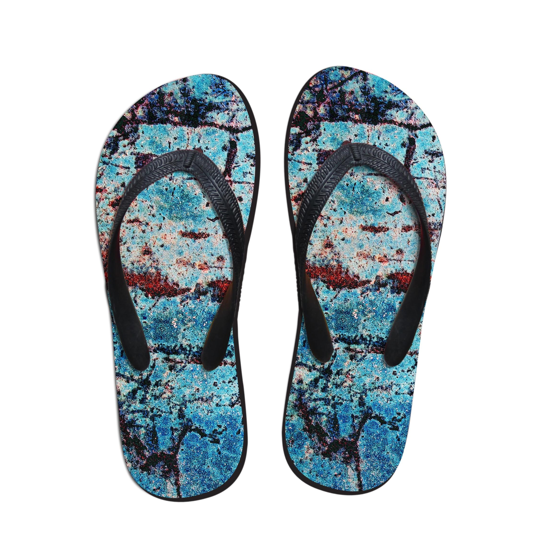 ELVISWORDS/мужские тапочки с принтом; мужские вьетнамки в винтажном стиле; парные туфли для подростков; модные шлепанцы без застежки; домашняя обувь - Цвет: C1015AB