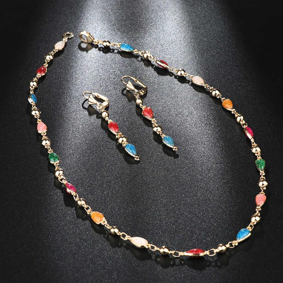 Kinel Bunte Emaille Frau Schmuck Set Mode Dubai Gold Drop Ohrringe Halskette Armband Vintage Hochzeit Schmuck Großhandel