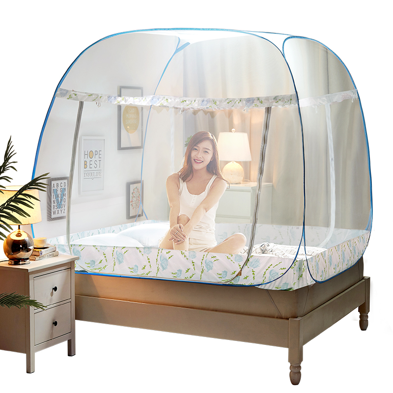 Pink blue portable mosquito net for double bed folding - Bed canopies for adults ...