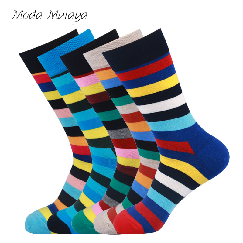 New Arrival Mens Happy   Socks   Brand Quality 100% Combed Cotton Striped Colorful Funny   Socks   Men Streetwear Crew Casual Dress   Sock