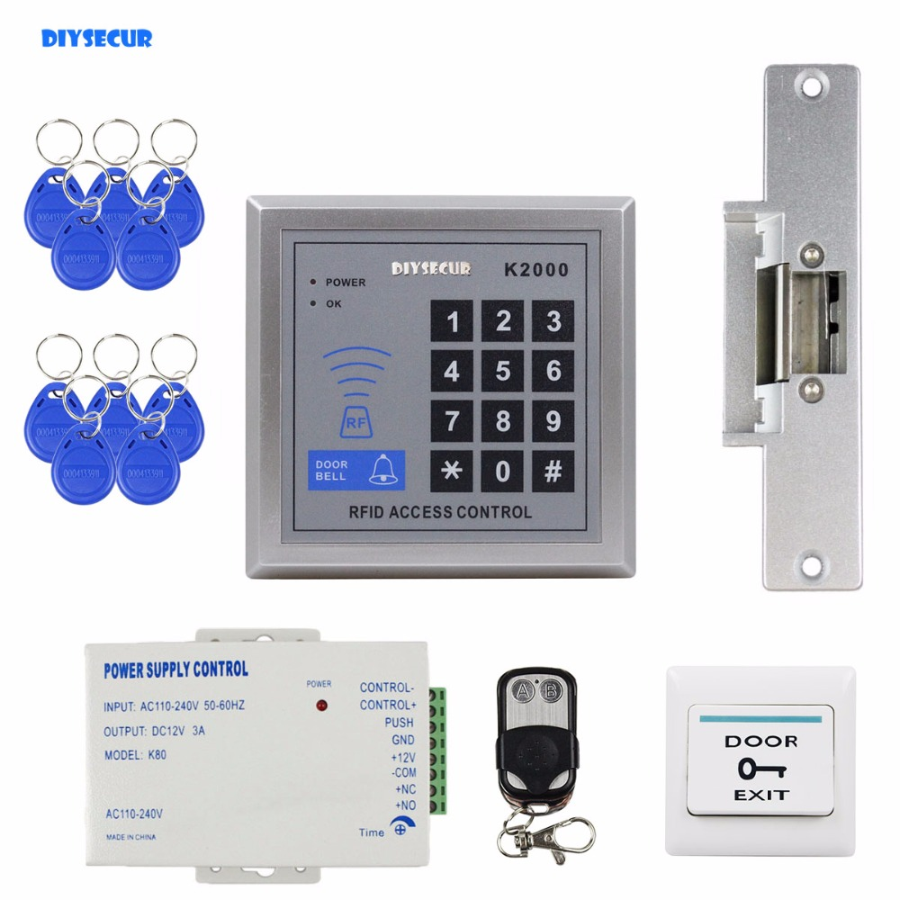 DIYSECUR Remote Controller RFID ID Card Reader with Door Bell Button 125KHz Keypad Access Control System Kit + Strike Lock rfid door access control system kit set with electric lock power supply doorbell door exit button 10 keys id card reader keypad