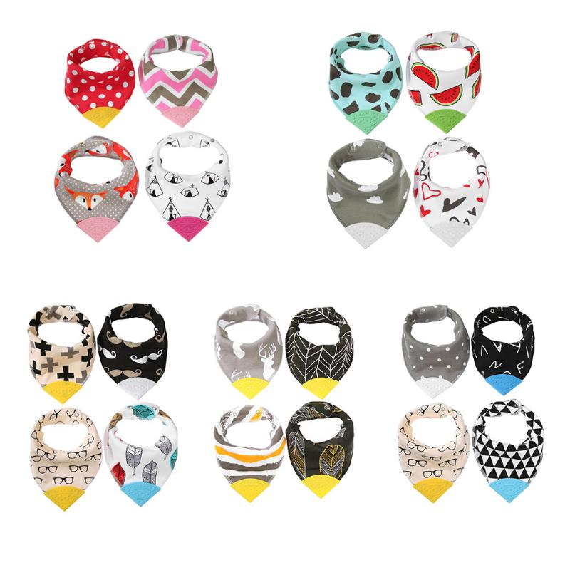4pcs Baby Bibs Cartoon Double Layer Thick Adjustable Bib Soft Triangle Towel Baby Cotton Bibs Bandana Accessories