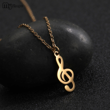 My Shape New Trendy Music Symbol Stainless Steel Personalized Charms Gold Choker Necklace Kids Women Jewelry