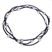 Naturalne Różowy Freshwater Pearl Black Leather Rope Biżuteria Długi Naszyjnik Na Prezenty Świąteczne