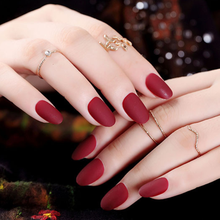 24pcs Oval Fake Nails Matte Rounded Artificia Plastic Finger Red Short False Nail Tips Clear Nep Nagels
