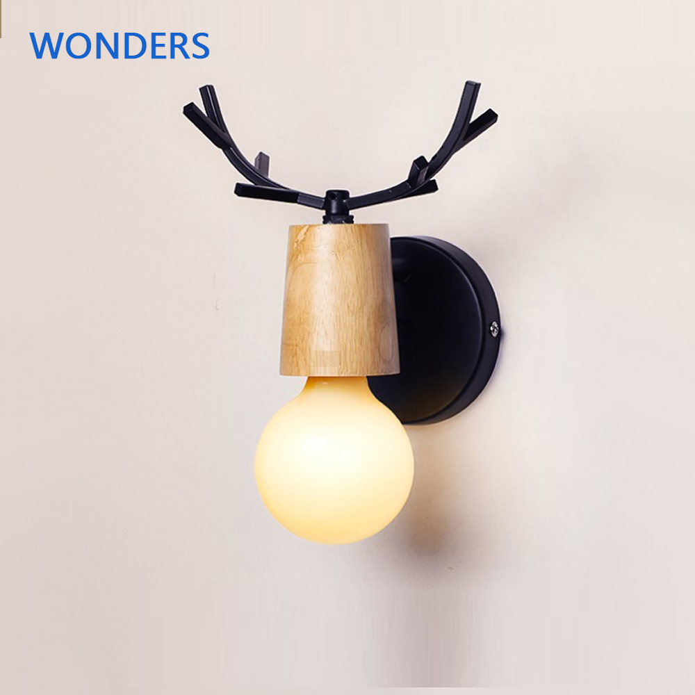 <font><b>Nordic</b></font> Modern Deer Antlers LED <font><b>Wall</b></font> Light Solid <font><b>Wood</b></font> Black White E27 iron Animal <font><b>Wall</b></font> <font><b>Lamp</b></font> Home Fixtures for Bedroom foyer image