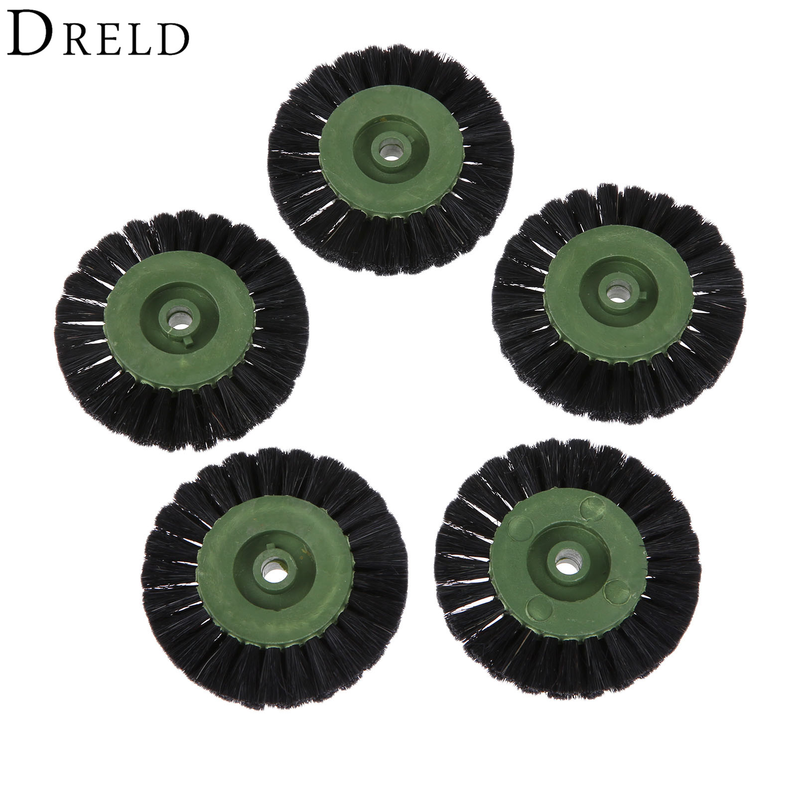 DRELD 5Pcs Dremel Accessories 60mm Grinding Brush Head Abrasive Wheel Black Buffing Polishing Wheels For Dremel Rotary Tool