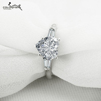 COLORFISH Love Engagement Ring For Women 2 Carat Heart Cut Synthetic Diamond Ring Sterling Silver Wedding