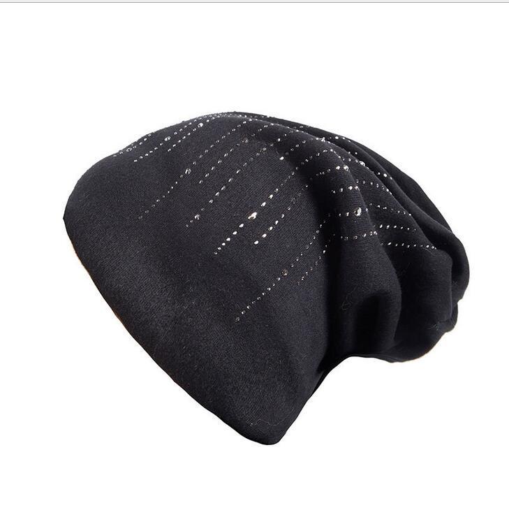 simple Women's Hats Men Rhinestone Elegant Wool   Beanie   Fashion New 2018 Winter Knitted Hat Female   Skullies     Beanies