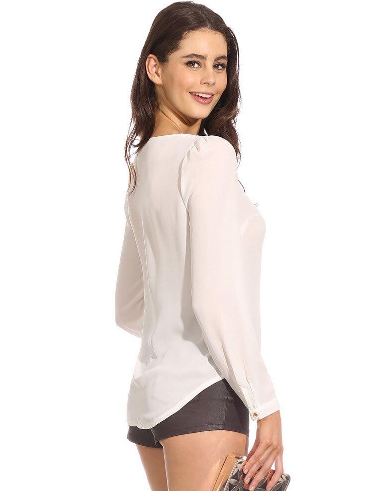 Larga Blusas De Camisa Sexy Nueva Casual Sólido 6 Cremallera Desgaste Trabajo Mujeres Moda V Chiffon Otoño Manga Color Cuello Tops qnwPE8x7