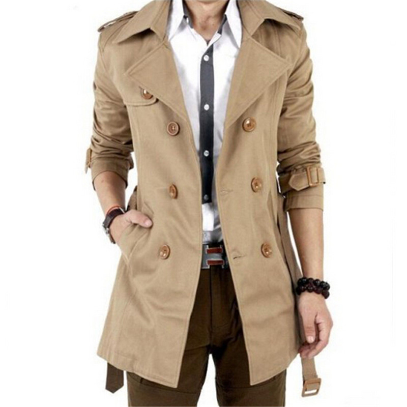 2017 Otoño Trench Coat de Los Hombres de Doble Botonadura Hombres Gabardina prendas de Vestir Exteriores Ocasional de la Capa Chaquetas de Los Hombres Rompevientos Para Hombre Gabardina