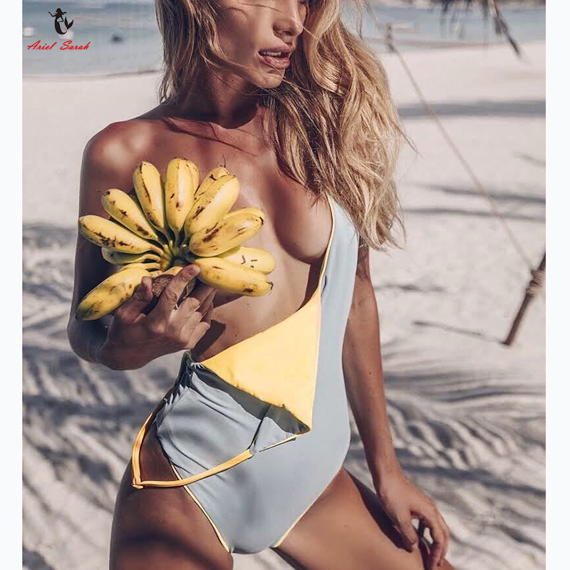 Ariel Sarah 2018 Halter Swimwear One Piece Swimsuit Solid Bathing Suit Women Sexy Piece Swimsuit Halter Monokini Beach Wear 2017 may beach halter bikini one pieces indoor asian swimsuit miley cyrus costume departure beach black swimsuit seafolly