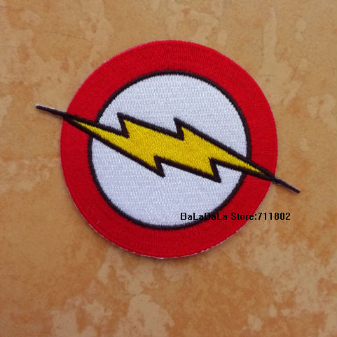 The Flash Super hero LOGO iron on patches biker vest patches TV the Whole embroidery appliques