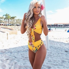 Купить с кэшбэком 2018 Bikini Women Summer Bandage Bathing Suit Floral Yellow Sexy Swimsuit Female Bikini Set Maillot De Bain High Waist Bikinis