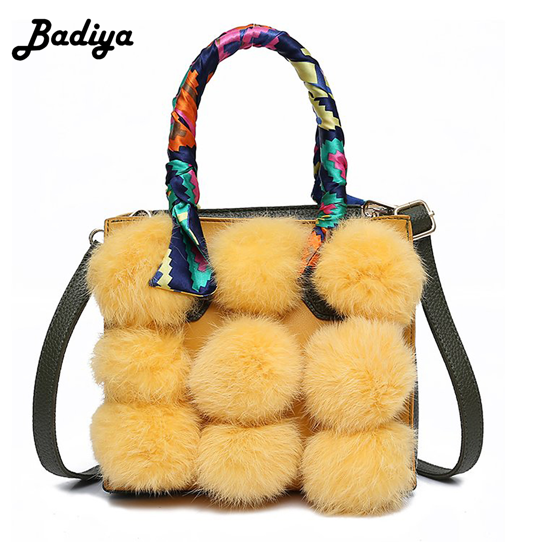 Winter Fashion Rabbit Fur Ball Shoulder Bag Handbag for Women New Design Luxury Female Shoulder Bag