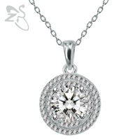 Sparkle קריסטל Zirconia כסף 925 תכשיטי תליון עגול שרשרת צווארון קולר שרשרת נשים 2017