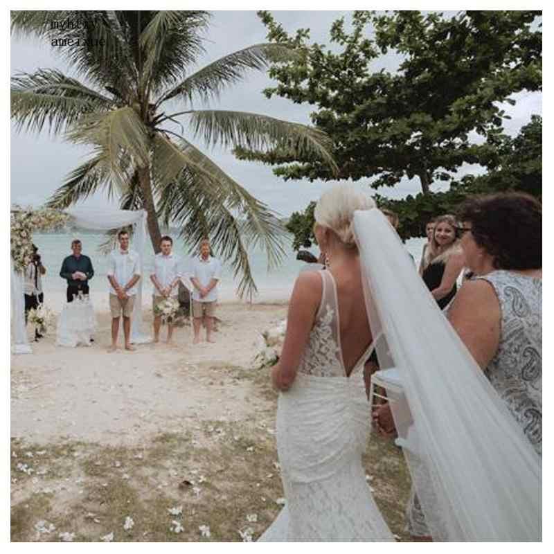 Marfim Informal Sexy Barato Vestido de Noiva 2019 Elegante Do Laço Da Sereia de Noiva Vestidos de Casamento Romântico Vestidos De Novia Vestidos de Casamento