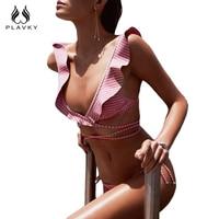 2017 Sexy Pink Striped Ruffled Biquini Strappy Swimsuit Swim Wear Bathing Suit Bandage Swimwear Women Brazilian