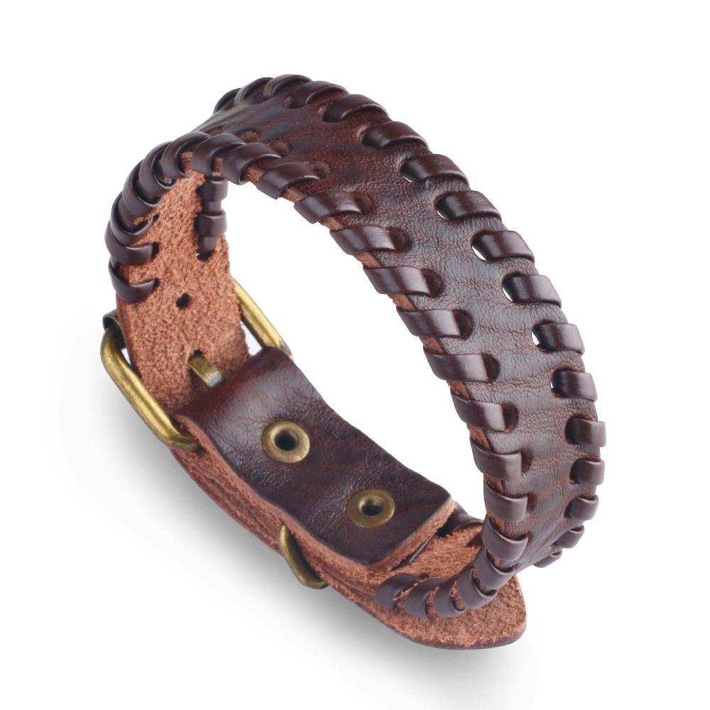 Womens Mens Vintage Brown Leather Cuff Bracelet