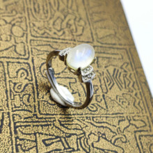 Top Natural Moonstone Blue Light Gemstone Adjustable Ring All Size Women Men 925 Silver 8x6mm Best Gift Stone AAAAA