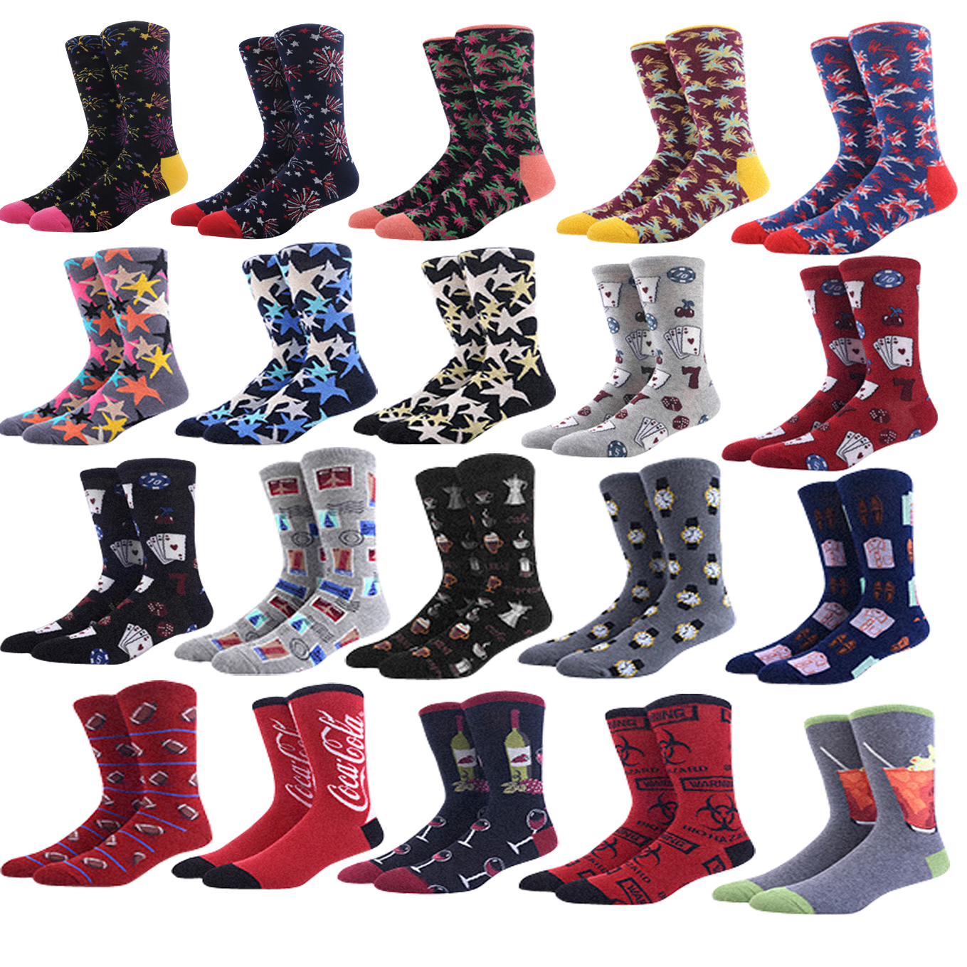 Mens Happy   Socks   Fireworks Lun wind graffiti poker Creative pattern   Sock   combed cotton funny   Socks