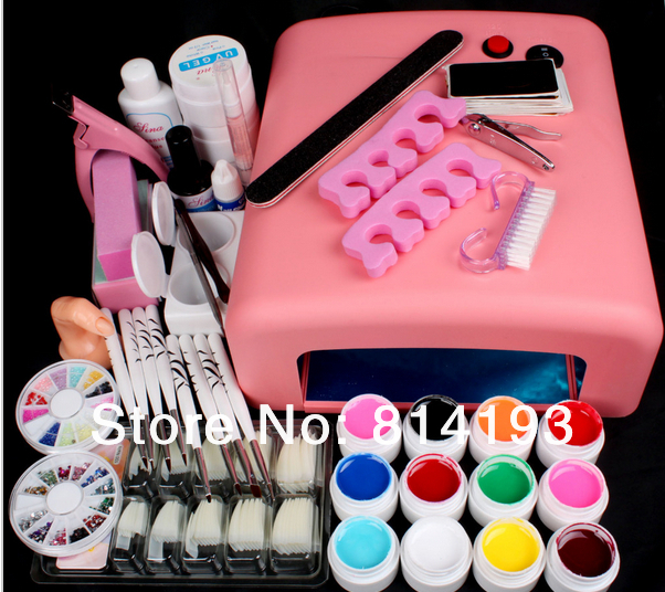 New Pro Nail Art 36W UV GEL Pink Lamp & 12 Color UV Gel Nail Art Tool Kits Sets