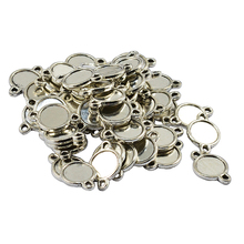 50Pcs Double Sided Pendants Blanks Base Round 10mm Silver Plated Cabochon Cameo Tray Setting for DIY Supplies Jewelry