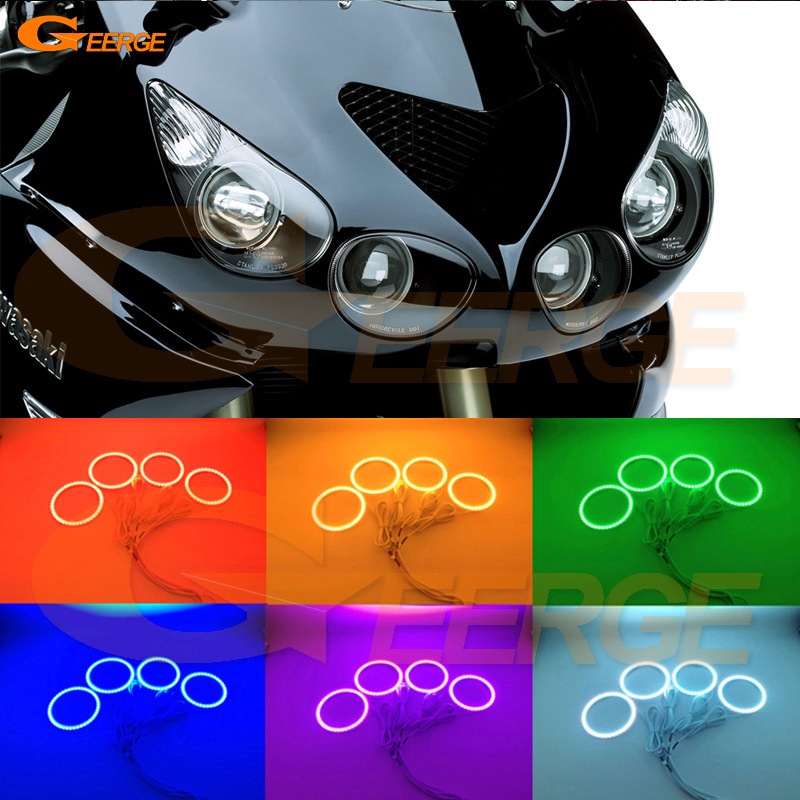 For Kawasaki Ninja ZZR1400 2006-2011 headlight Excellent Multi-Color Ultra bright RGB LED Angel Eyes kit for mercedes benz b class w245 b160 b180 b170 b200 2006 2011 excellent multi color ultra bright rgb led angel eyes kit
