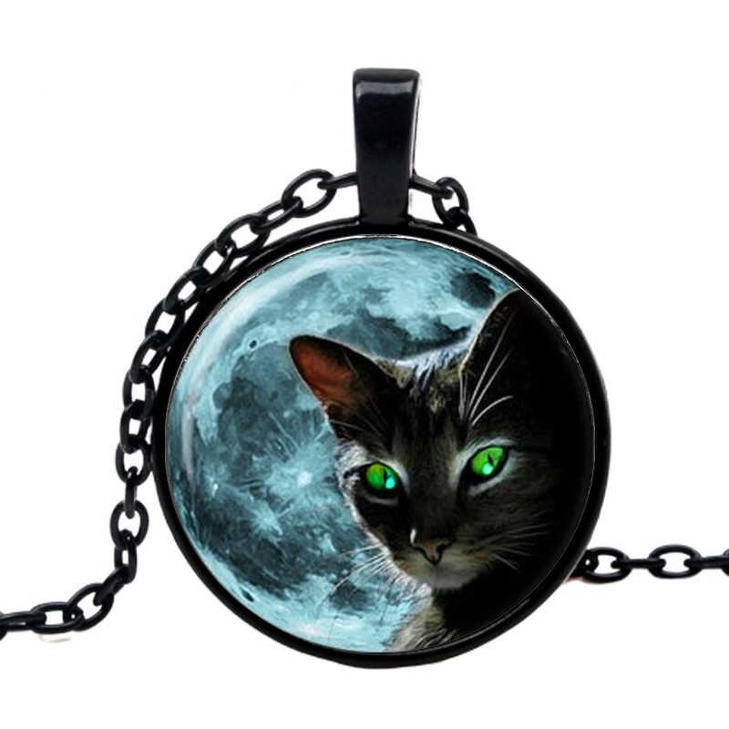 ירח שחור חתול שרשרת תליון 2019 נשים של קיץ סגנון תחרה ירוקה עיניים חתול שרשראות בעלי החיים שרשרת בתכשיטים סיטונאי