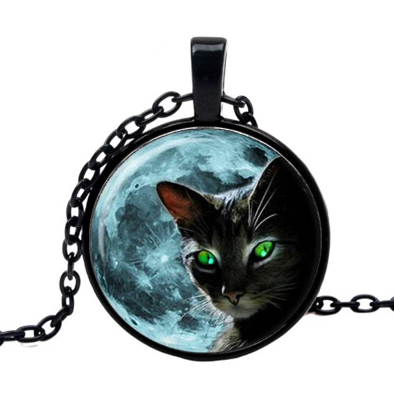 moon Black cat necklace pendant 2019 womens summer style lace green-eyed necklaces animal in jewelry wholesale