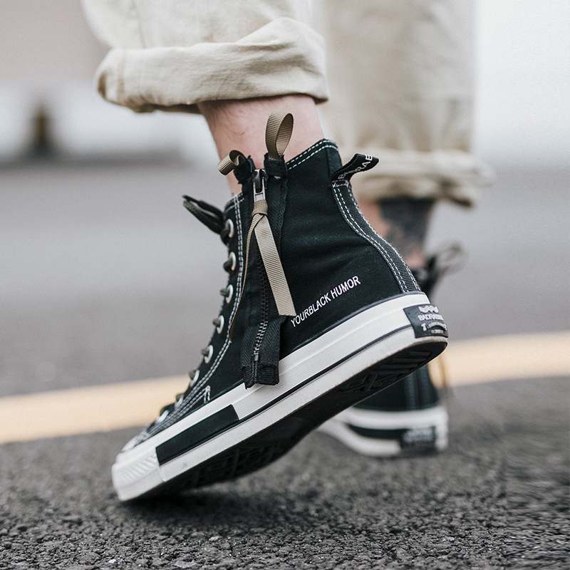 Autumn New Men 39 s Classic Lace Zipper High up Canvas Shoes Korean Fashion Black Flat Bottom Stretch Running Casual Fashion Shoe in Men 39 s Casual Shoes from Shoes