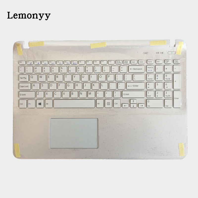 US laptop keyboard for sony SVF15 SVF152 SVF153 SVF1541 SVF15E With Touchpad Palmrest Cover white