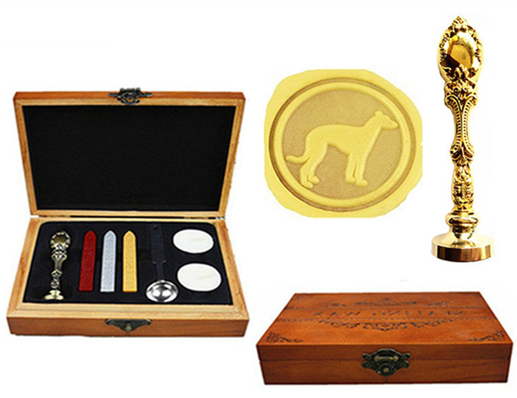 Greyhound Whippet Dog Vintage Brass Peacock Metal Handle Sticks Melting Spoon Wood Gift Box Set Luxury Wax Seal Sealing Stamp sony fdr ax53
