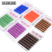 GLAMLASH Premium Purple Blue Brown Green Red Colors Eyelash Extension Individual faux Mink false lashes extension makeup cilios