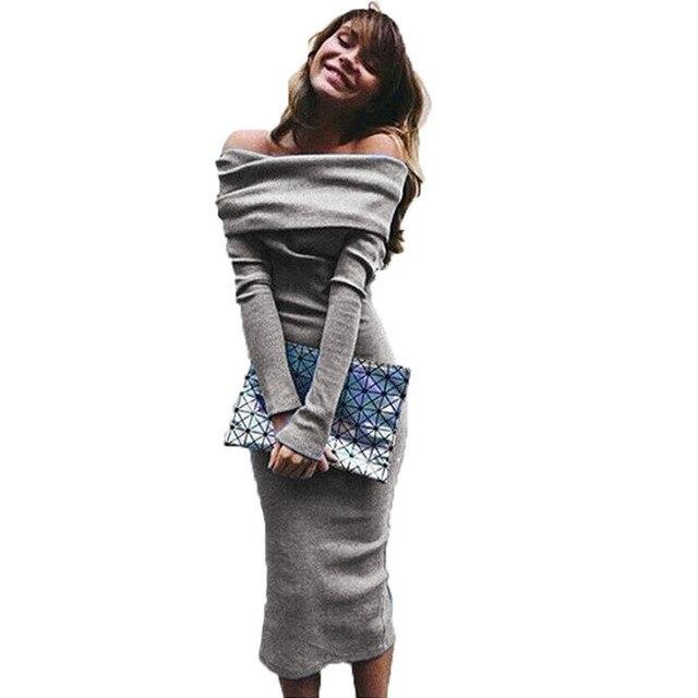 3d3d105b249 Товар Elegant Off Shoulder Knitted Dress For Women Autumn Slash Neck ...