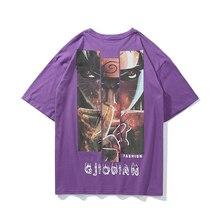 Летний трендовый комплект Наруто Аниме хип-хоп Футболка оверсайз Harajuku круглый вырез уличная пара Повседневная рубашка с короткими рукавами