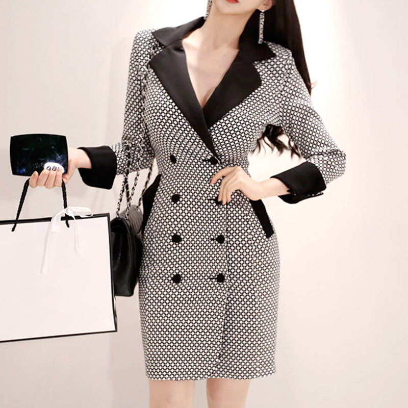BGTEEVER Elegant V-neck Plaid Women Dress Double Breasted Blazer Dress femme Mini Bodycon Vestidos 2019 Spring High Quality