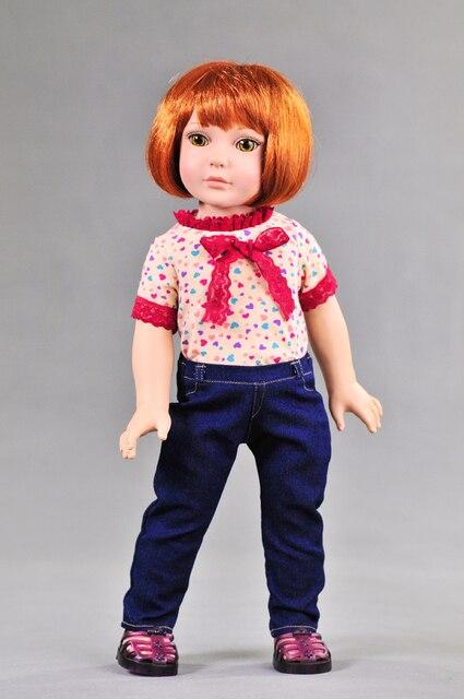 Мода американский принцесса куклы 1 шт. футболка + 1 шт. джинсы брюки подходят для 18 дюймов девушка девушки подарков