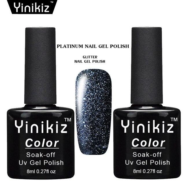 Yinikiz Starry Colors Platinum Nail Gel UV LED Nail Gel Polish Soak Off  Shiny Glitter Nail Glue 4a4a067b1