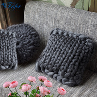 40x40cm Vintage Gray Handmade Braided Thick Square Pillow Decorative Sofa Throw Cushions Knitting Wool Pillows