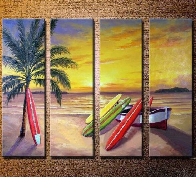 Hand Painted 4 Panels Wall Painting Home Decor Wall Art Pictures ...
